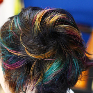 ピンク ストリート ショート インナーカラー ヘアスタイルや髪型の写真・画像