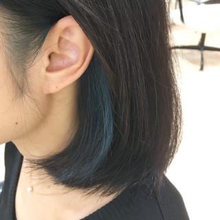 ブルー モード ターコイズブルー ボブ ヘアスタイルや髪型の写真・画像
