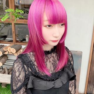 ピンク ピンクバイオレット ガーリー ピンクパープル ヘアスタイルや髪型の写真・画像