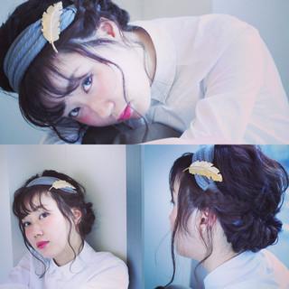 ルーズ ヘアアクセ セミロング ヘアアレンジ ヘアスタイルや髪型の写真・画像