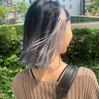 ホワイトブリーチ ボブ モード ホワイトカラー ヘアスタイルや髪型の写真・画像