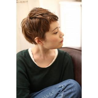 ウェットヘア ベリーショート ショート ローライト ヘアスタイルや髪型の写真・画像