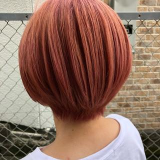 ショートボブ ピンク ショート ガーリー ヘアスタイルや髪型の写真・画像