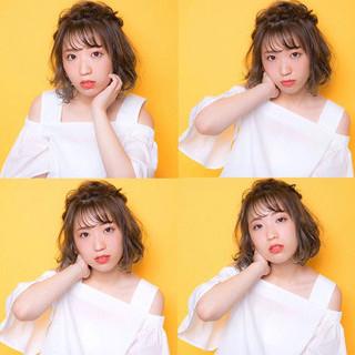 シースルーバング ヘアアレンジ 簡単ヘアアレンジ 前髪あり ヘアスタイルや髪型の写真・画像