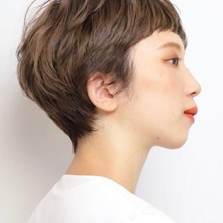 アンニュイほつれヘア ハンサムショート マッシュショート ナチュラル ヘアスタイルや髪型の写真・画像