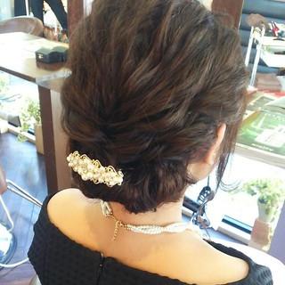 大人女子 結婚式 ヘアアレンジ ミディアム ヘアスタイルや髪型の写真・画像