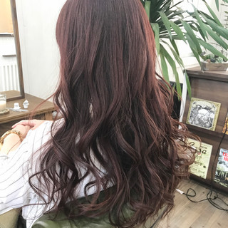 ナチュラル ロング ピンク 女子会 ヘアスタイルや髪型の写真・画像