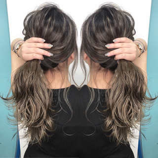 外国人風カラー ハイライト 3Dハイライト ナチュラル ヘアスタイルや髪型の写真・画像