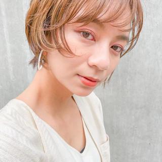 デジタルパーマ ナチュラル ハイライト ショートボブ ヘアスタイルや髪型の写真・画像