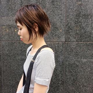 ショート ハイライト ショートボブ 外国人風 ヘアスタイルや髪型の写真・画像