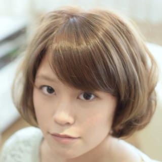 ショートボブ ナチュラル ボブ 透明感カラー ヘアスタイルや髪型の写真・画像