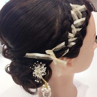 結婚式 二次会 ガーリー アップスタイル ヘアスタイルや髪型の写真・画像