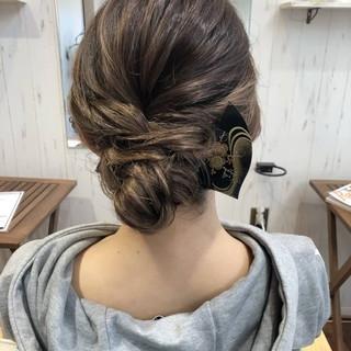 結婚式 簡単ヘアアレンジ フェミニン 和装 ヘアスタイルや髪型の写真・画像