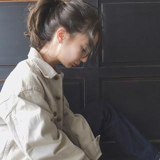 ミルクティー セミロング 前髪あり こなれ感 ヘアスタイルや髪型の写真・画像
