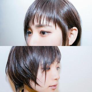ナチュラル 黒髪 ショート アッシュ ヘアスタイルや髪型の写真・画像