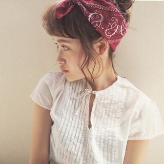 ミディアム 簡単ヘアアレンジ 大人かわいい 夏 ヘアスタイルや髪型の写真・画像
