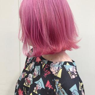 透明感 ピンク フェミニン ボブ ヘアスタイルや髪型の写真・画像