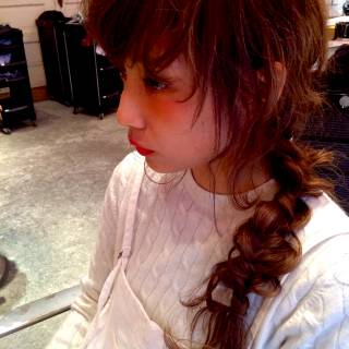 編み込み グラデーションカラー ロング 簡単ヘアアレンジ ヘアスタイルや髪型の写真・画像
