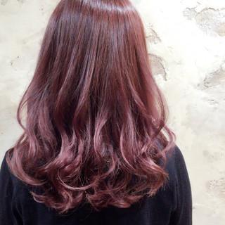 ピンク ロング ストリート ベージュ ヘアスタイルや髪型の写真・画像
