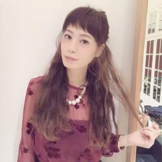 オン眉 ヘアアレンジ 秋 ロング ヘアスタイルや髪型の写真・画像