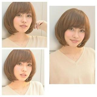 ショート 前髪あり ゆるふわ ブラウン ヘアスタイルや髪型の写真・画像
