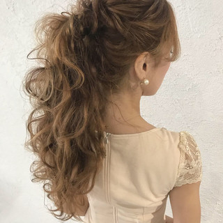 デート ロング 結婚式 大人かわいい ヘアスタイルや髪型の写真・画像