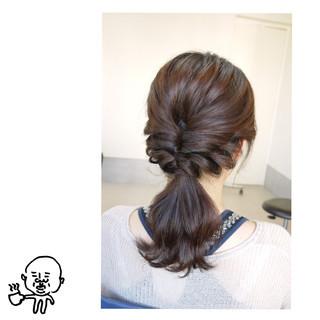 ポニーテール ヘアアレンジ セミロング 簡単 ヘアスタイルや髪型の写真・画像