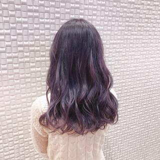 ピンクラベンダー セミロング ピンクパープル ハイトーンカラー ヘアスタイルや髪型の写真・画像