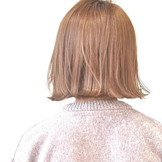 ナチュラル ハイトーンカラー ボブ ベージュ ヘアスタイルや髪型の写真・画像