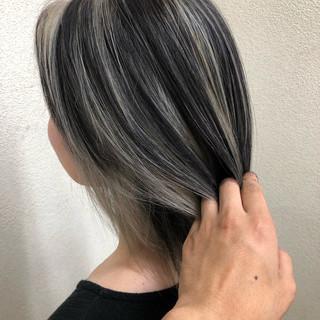 バレイヤージュ パーマ ハイライト グラデーションカラー ヘアスタイルや髪型の写真・画像