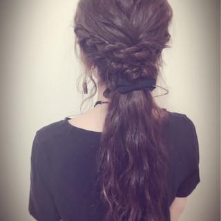 ロング 大人かわいい 編み込み 簡単ヘアアレンジ ヘアスタイルや髪型の写真・画像