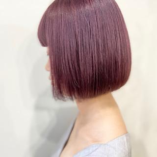 ナチュラル ベリーピンク ピンクベージュ ボブ ヘアスタイルや髪型の写真・画像