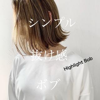 コントラストハイライト ナチュラル ハイトーンボブ 3Dハイライト ヘアスタイルや髪型の写真・画像