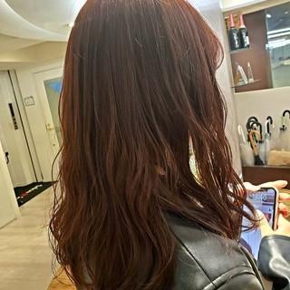 イルミナカラー ピンクパープル ガーリー セミロング ヘアスタイルや髪型の写真・画像
