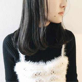 黒髪 セミロング 外国人風カラー グレージュ ヘアスタイルや髪型の写真・画像