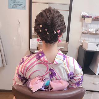ガーリー 和装 夏 涼しげ ヘアスタイルや髪型の写真・画像