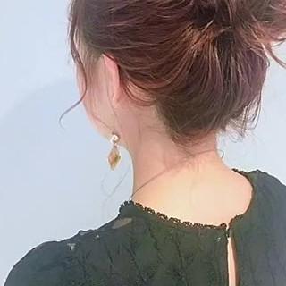 ナチュラル ショート お団子 ヘアアレンジ ヘアスタイルや髪型の写真・画像
