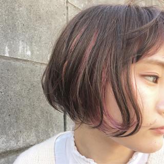 イルミナカラー ストリート インナーカラー ボブ ヘアスタイルや髪型の写真・画像