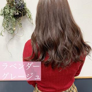 ラベンダーグレー ラベンダーピンク ロング ラベンダーアッシュ ヘアスタイルや髪型の写真・画像