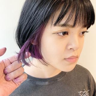 ショートヘア ボブ インナーカラー ストリート ヘアスタイルや髪型の写真・画像