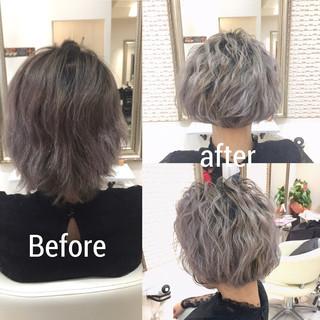 外国人風 ボブ 波ウェーブ グラデーションカラー ヘアスタイルや髪型の写真・画像