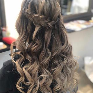 バレイヤージュ 結婚式 ナチュラル ヘアアレンジ ヘアスタイルや髪型の写真・画像