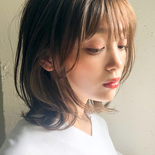 デジタルパーマ アンニュイほつれヘア ミディアム ゆるふわパーマ ヘアスタイルや髪型の写真・画像