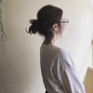 ミディアム ワンカールスタイリング フェミニン 簡単ヘアアレンジ ヘアスタイルや髪型の写真・画像