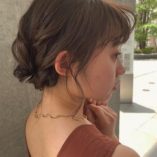 結婚式ヘアアレンジ ふわふわヘアアレンジ モテボブ モテ髪 ヘアスタイルや髪型の写真・画像
