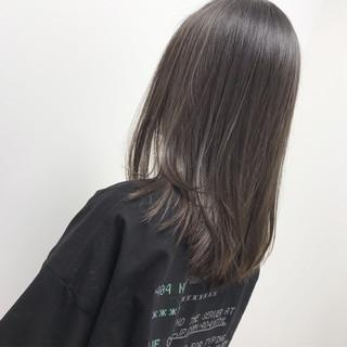 黒髪 モード ヘアアレンジ セミロング ヘアスタイルや髪型の写真・画像