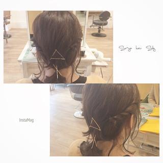 簡単ヘアアレンジ アッシュ ボブ ハイライト ヘアスタイルや髪型の写真・画像