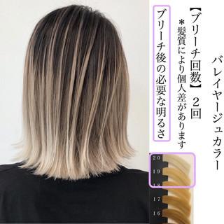 エレガント ミディアム グラデーションカラー バレイヤージュ ヘアスタイルや髪型の写真・画像