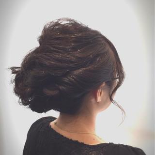 パーティ ねじり 結婚式 ヘアアレンジ ヘアスタイルや髪型の写真・画像