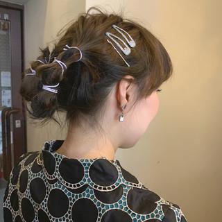 ヘアアレンジ 結婚式 フェミニン セミロング ヘアスタイルや髪型の写真・画像